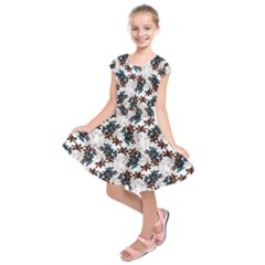 Pear Blossom Teal Orange Brown  Kids  Short Sleeve Dress