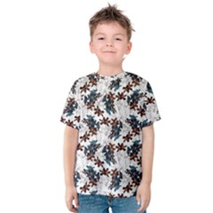 Pear Blossom Teal Orange Brown  Kids  Cotton Tee