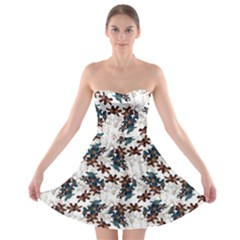 Pear Blossom Teal Orange Brown  Strapless Bra Top Dress