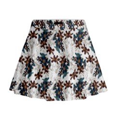 Pear Blossom Teal Orange Brown  Mini Flare Skirt