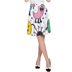 Cute And Fun Monsters Pattern A Line Skirt