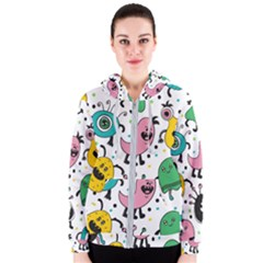 Cute And Fun Monsters Pattern Women s Zipper Hoodie