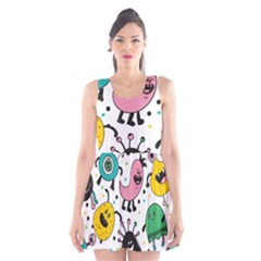 Cute And Fun Monsters Pattern Scoop Neck Skater Dress