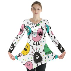 Cute And Fun Monsters Pattern Long Sleeve Tunic
