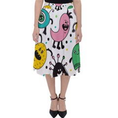 Cute And Fun Monsters Pattern Folding Skater Skirt