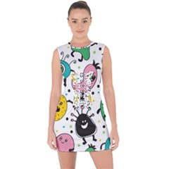 Cute And Fun Monsters Pattern Lace Up Front Bodycon Dress