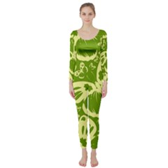 Pale Green Butterflies Pattern Long Sleeve Catsuit