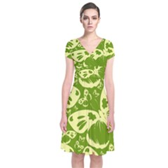 Pale Green Butterflies Pattern Short Sleeve Front Wrap Dress