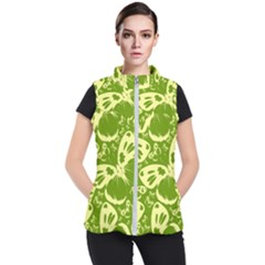 Pale Green Butterflies Pattern Women s Puffer Vest