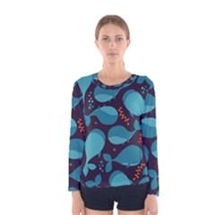 Blue Whale Pattern Women s Long Sleeve Tee