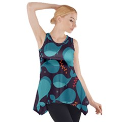 Blue Whale Pattern Side Drop Tank Tunic