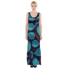 Blue Whale Pattern Maxi Thigh Split Dress
