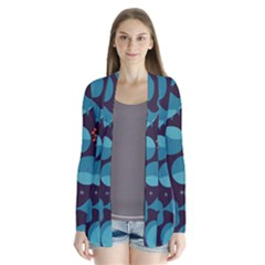 Blue Whale Pattern Drape Collar Cardigan