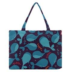 Blue Whale Pattern Zipper Medium Tote Bag