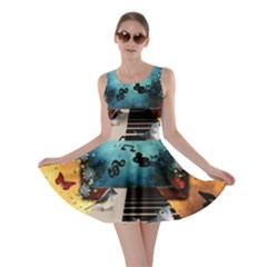 Music, Piano With Birds And Butterflies Skater Dress