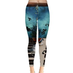 Music, Piano With Birds And Butterflies Leggings