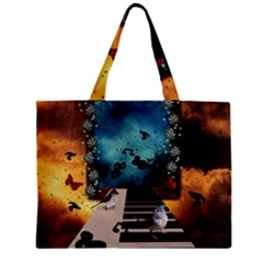 Music, Piano With Birds And Butterflies Zipper Mini Tote Bag