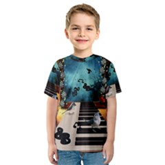 Music, Piano With Birds And Butterflies Kids  Sport Mesh Tee
