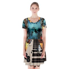 Music, Piano With Birds And Butterflies Short Sleeve V Neck Flare Dress