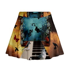 Music, Piano With Birds And Butterflies Mini Flare Skirt