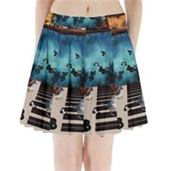 Music, Piano With Birds And Butterflies Pleated Mini Skirt