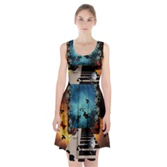 Music, Piano With Birds And Butterflies Racerback Midi Dress