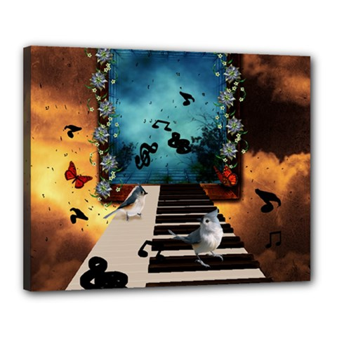 Music, Piano With Birds And Butterflies Canvas 20  X 16