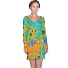 Colorful Dragons Pattern Long Sleeve Nightdress
