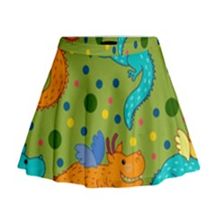 Colorful Dragons Pattern Mini Flare Skirt