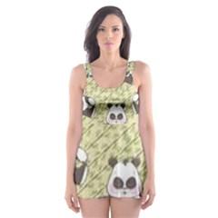 Fun Panda Pattern Skater Dress Swimsuit