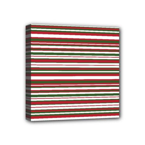 Christmas Stripes Pattern Mini Canvas 4  X 4