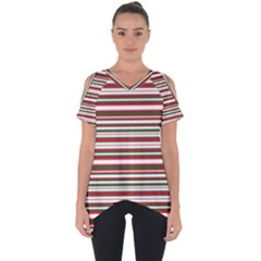 Christmas Stripes Pattern Cut Out Side Drop Tee
