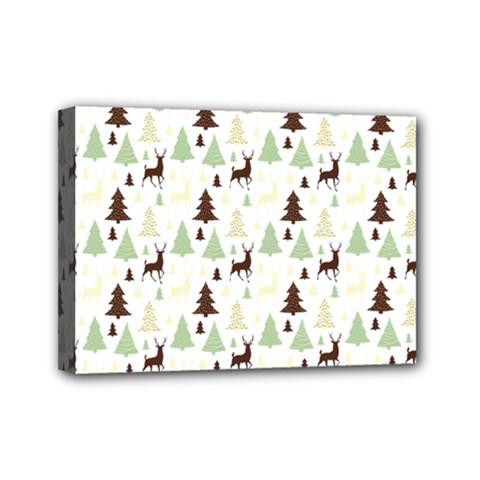 Reindeer Tree Forest Mini Canvas 7  X 5