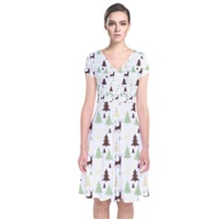 Reindeer Tree Forest Short Sleeve Front Wrap Dress