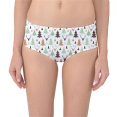 Reindeer Christmas Tree Jungle Art Mid Waist Bikini Bottoms