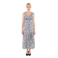 Wavy Intricate Seamless Pattern Design Sleeveless Maxi Dress