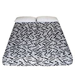 Wavy Intricate Seamless Pattern Design Fitted Sheet (queen Size)