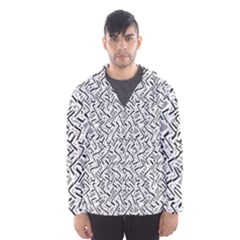 Wavy Intricate Seamless Pattern Design Hooded Wind Breaker (men)