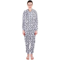 Wavy Intricate Seamless Pattern Design Hooded Jumpsuit (ladies)