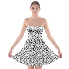 Wavy Intricate Seamless Pattern Design Strapless Bra Top Dress