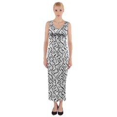 Wavy Intricate Seamless Pattern Design Fitted Maxi Dress