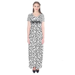 Wavy Intricate Seamless Pattern Design Short Sleeve Maxi Dress