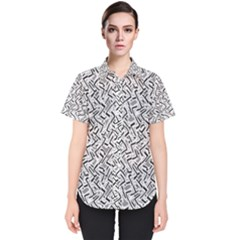 Wavy Intricate Seamless Pattern Design Women s Short Sleeve Shirt