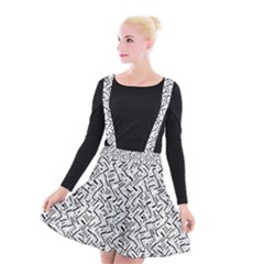 Wavy Intricate Seamless Pattern Design Suspender Skater Skirt