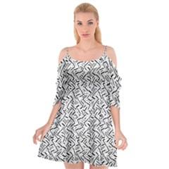 Wavy Intricate Seamless Pattern Design Cutout Spaghetti Strap Chiffon Dress