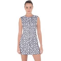 Wavy Intricate Seamless Pattern Design Lace Up Front Bodycon Dress