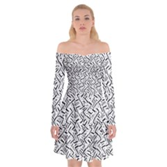 Wavy Intricate Seamless Pattern Design Off Shoulder Skater Dress