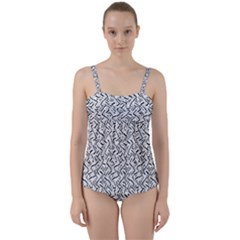 Wavy Intricate Seamless Pattern Design Twist Front Tankini Set