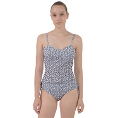 Wavy Intricate Seamless Pattern Design Sweetheart Tankini Set