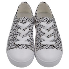 Wavy Intricate Seamless Pattern Design Kids  Low Top Canvas Sneakers